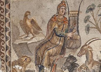 Yaygın görülen Orpheus Mozaiği betimlemesi